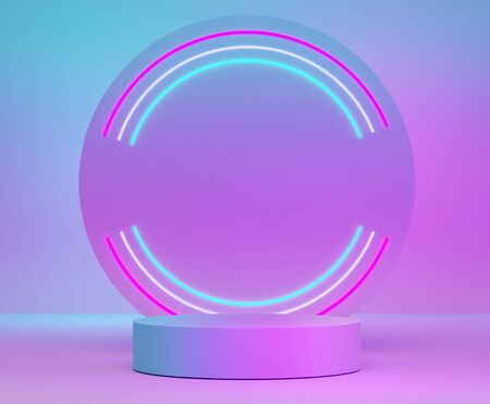 3d abstract minimalist geometric forms. Neon light of premium podium for your design in trendy. Fashion show stage,pedestal, shopfront with Blue- purple theme. Empty scene for  mock up.