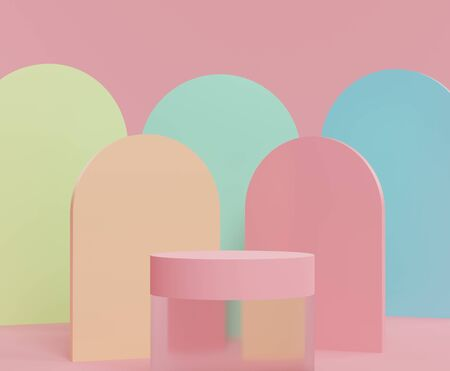 3d abstract minimalist geometric forms. Pastel gradients luxury podium for your design in trendy. Fashion show stage,pedestal, shopfront with colorful theme. Empty scene for  mock up. Foto de archivo
