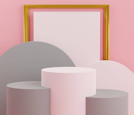 3d abstract minimalist geometric forms. Glossy luxury podium for your design in trendy interior. Fashion show stage,pedestal, shopfront with colorful theme. Empty scene for  mock up.
