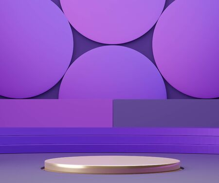 3d geometric forms. Podium in purple color. Fashion show stage,pedestal, shopfront with colorful theme. Minimal scene for  product display. Abstract background for cosmetic advertising.