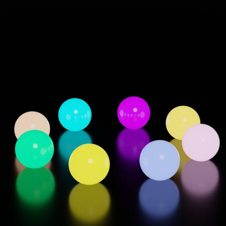 3d abstract geometric forms. Neon tone of luxury colorful glass light ball.  Empty scene for  mock up. Foto de archivo