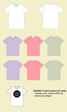T-shirt template. Vector illustration. Flat V-neck.