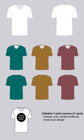 T-shirt template. Vector illustration. V-neck.
