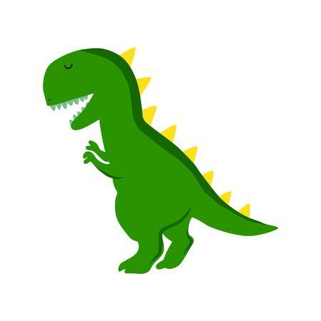 Green dinosaur cartoon vector illustration isolated on white background. T-rex.