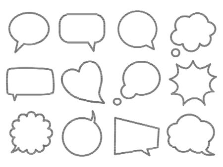 Blank empty speech bubbles for infographics isolated on white background.