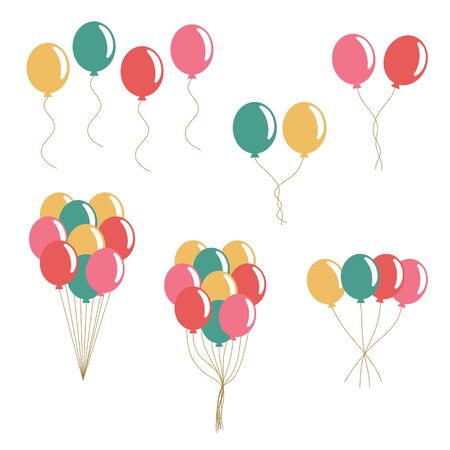Bunch of balloons in flat style vector isolated on white background.