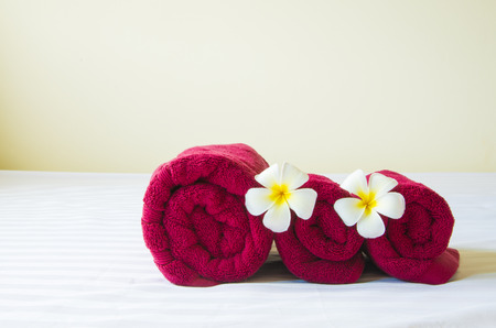 double bed: Ready for relaxation spa treatment in luxury hotel.
