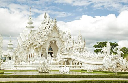 thai temple: White temple of Buddhism in the northe of Thailand Stock Photo