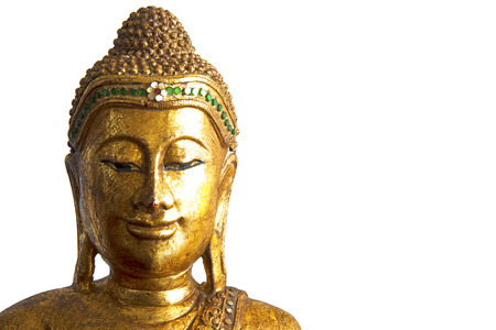 buddha head: Decorative sculpture of Buddha head in gold color