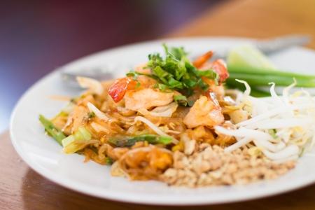 Thai food, Stir fry rice noodles and shrimp  photo