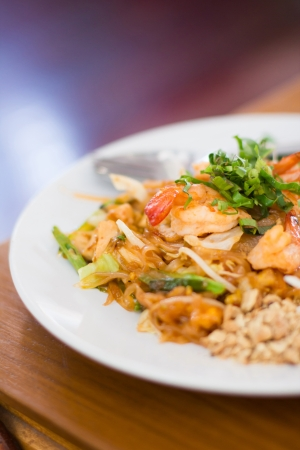 Thai food, Stir fry rice noodles and shrimp  photo