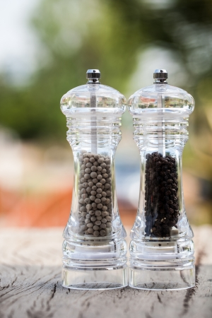pepper grinder: black and white pepper in pepper grinder