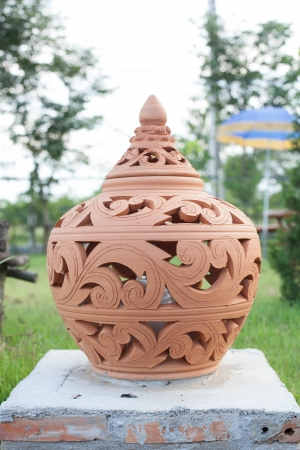 Thai art lamp in the public park of Thailand photo