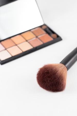makeup brush on white background photo