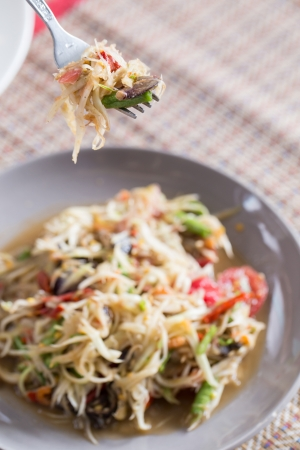 Papaya Salad, Somtum  was popular in Thailand photo