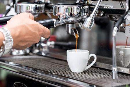 maquina de vapor: Proceso de preparación de café