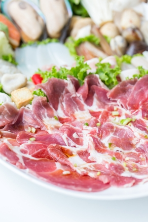 freshness raw pork on white dish for grill photo