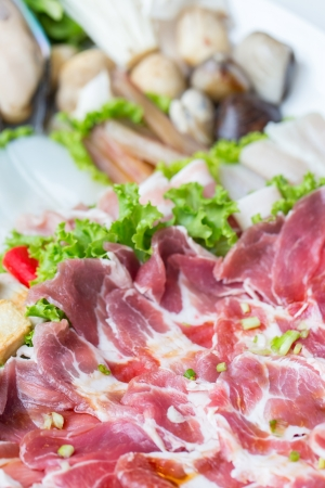freshness raw pork on white dish for grill photo