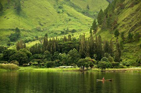 beautiful lake in tongging indonesia photo