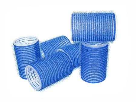 hair curler: blue hair curler