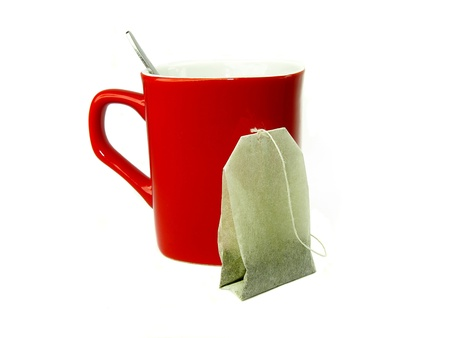 tea bag and red mug photo
