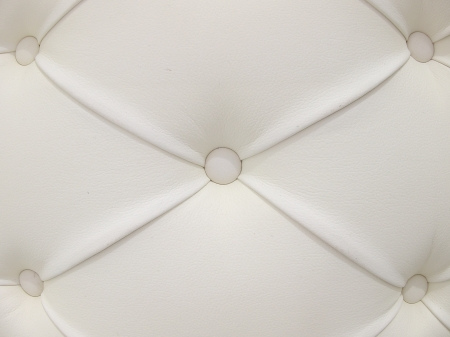 button tufted: White Leather Upholstery