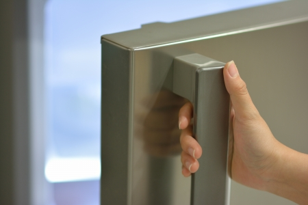 fridge: one hand opening refrigerator