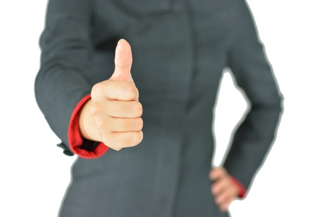 Business woman shows thumb up on white background Standard-Bild
