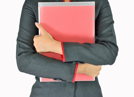 Business woman  holding document on white background