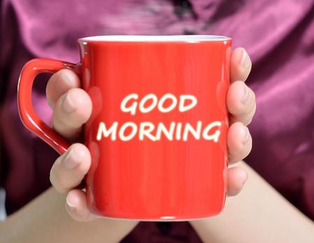 hands holding red mug of hot drink, close-up Standard-Bild