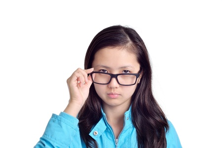 young woman wearing glasses isolated on white background