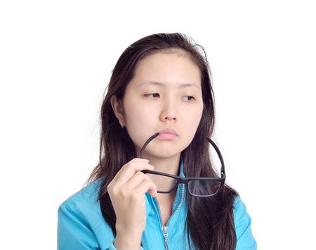 woman biting glasses and thinking, isolated on white background
