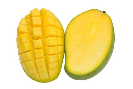 green mango and a sliced mango isolated on white background