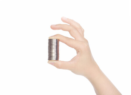 female hand with coins isolated on white background Standard-Bild