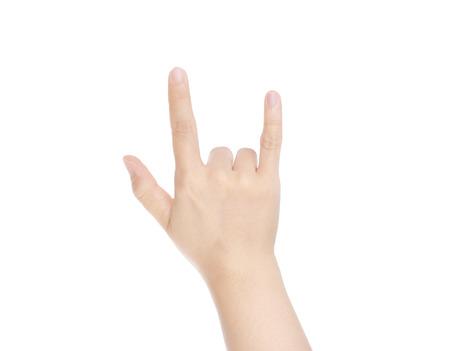 female hand sign isolated on white background