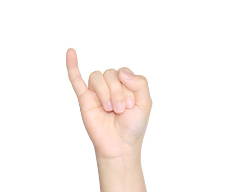 female hand making sign  Isolated on white background