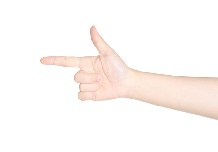 female hand pointing, making gun sign  isolated on white background