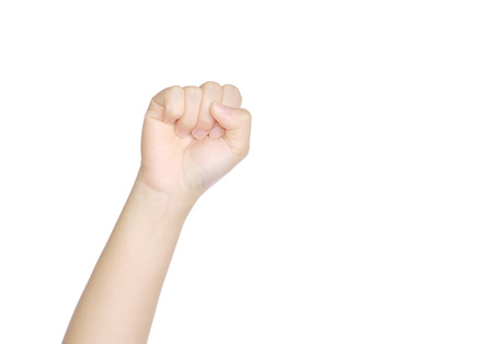 resistence: clenched fist hand,rebel symbol  isolated on white background