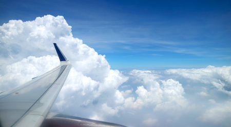 View from an aeroplane with an airoplane wing in the corner Stock Photo - 114202561