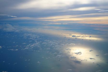 Morning Cloud in the sky, aeroplane windows view