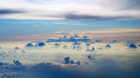 dramatic and beautiful morning sky view from commercial airplane windows