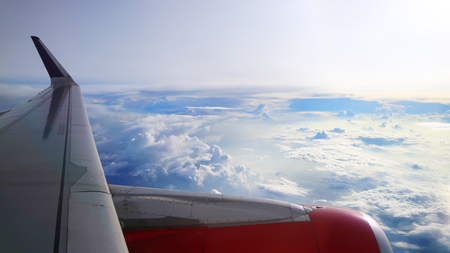 cloudy sky view from commercial airplane windows