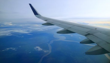 aerial view from commercial airplane windows Standard-Bild