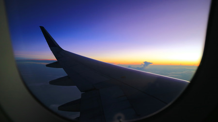 morning sunrise view from commercial airplane windows