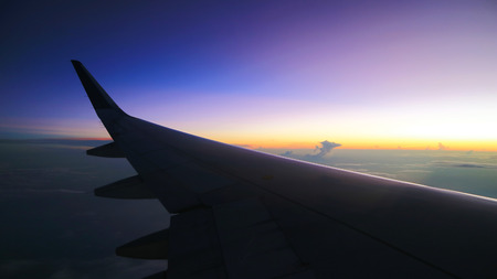 beautiful morning sky view from commercial airplane windows