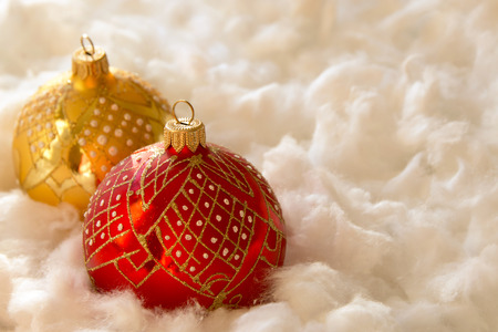 New Year and Christmas composition: fir tree balls in the wadding Stock Photo