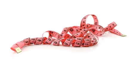 centimetre:  centimetre ribbon lies on a white background