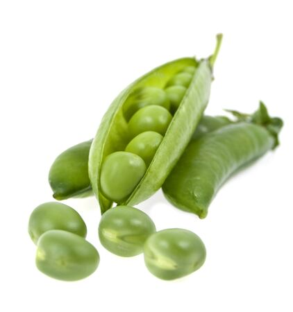 a pea green is in a pod on a white background photo