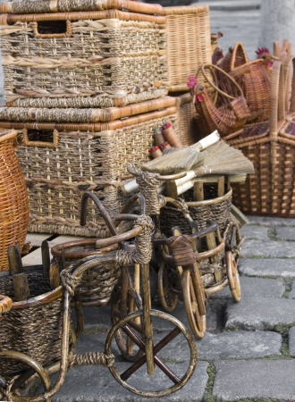 eacute: baskets and wares of handwork for a sale at the market