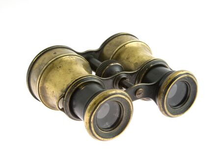 antique binoculars: old military binoculars on a white background Stock Photo